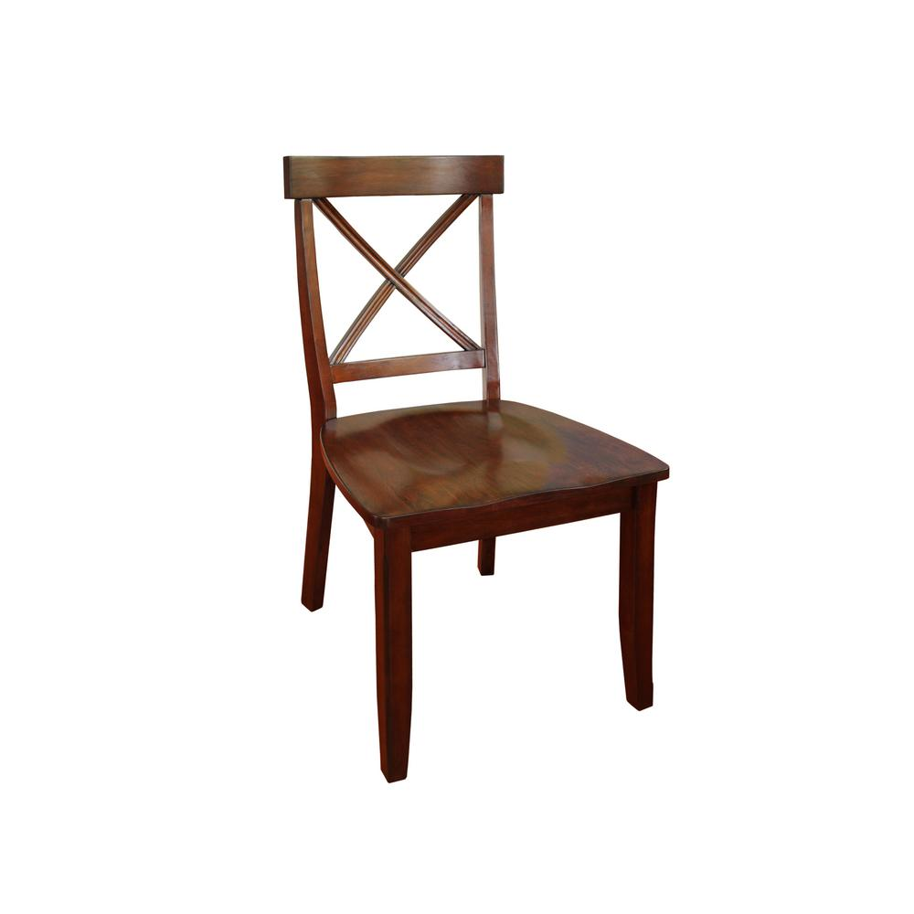 Cherry Wood X Back Dining Chair Set Of 2