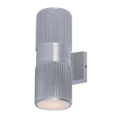 Lightray 4.25 in. W 2-Light Brushed Aluminum Outdoor Wall Lantern Sconce