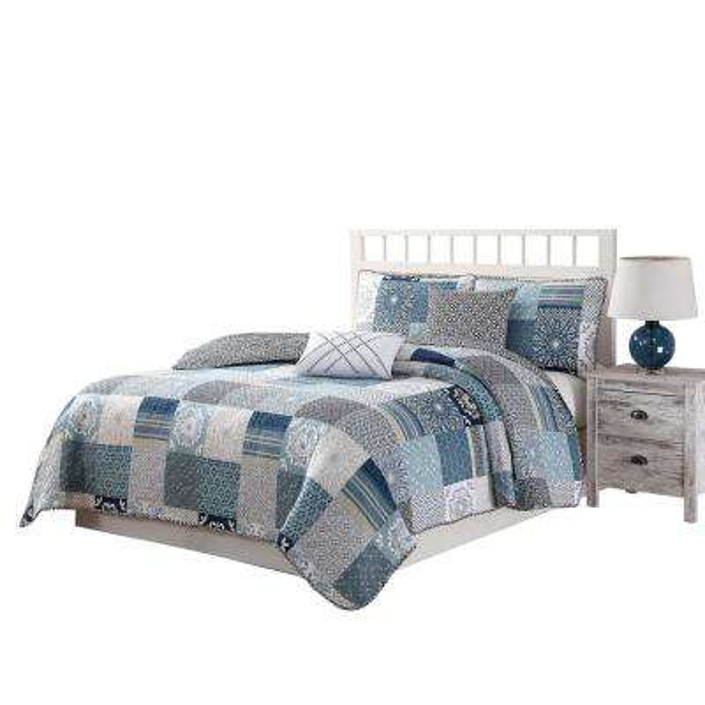 Avignon 5-Piece Blue/Taupe/White King Reversible Quilt Set