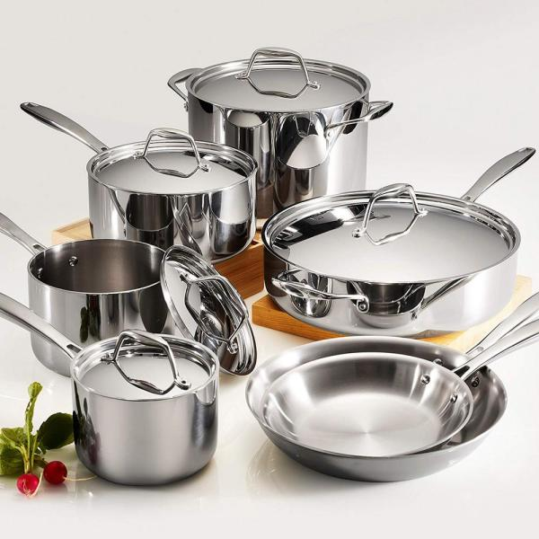 Gourmet Tri-Ply Clad 12-Piece Stainless Steel Cookware Set