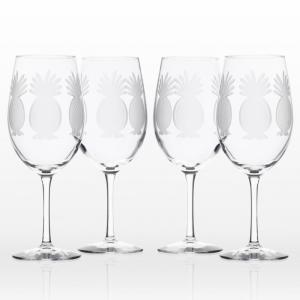 Pineapple Clear 18 oz. All Purpose Wine Glass (Set of 4)