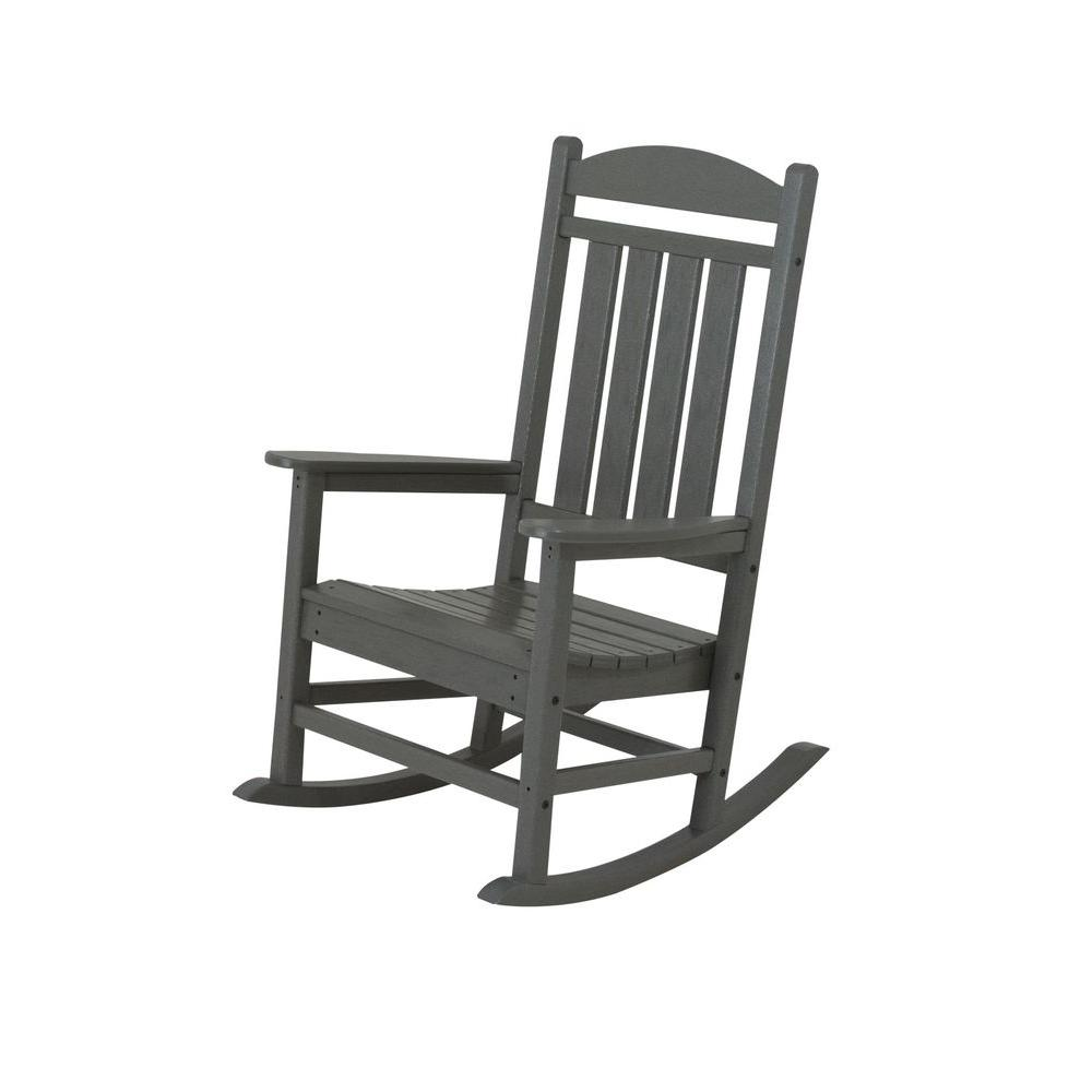 Polywood Presidential Slate Grey Plastic Patio Rocker R100gy The