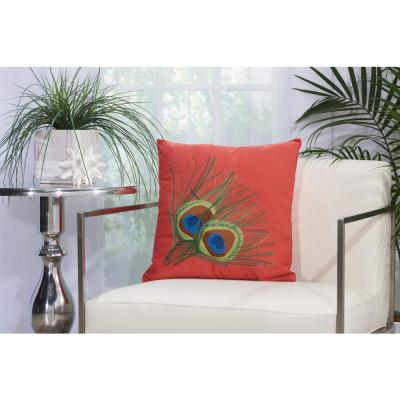 Peacock Feathers 18 in. x 18 in. Coral Indoor and Outdoor Pillow