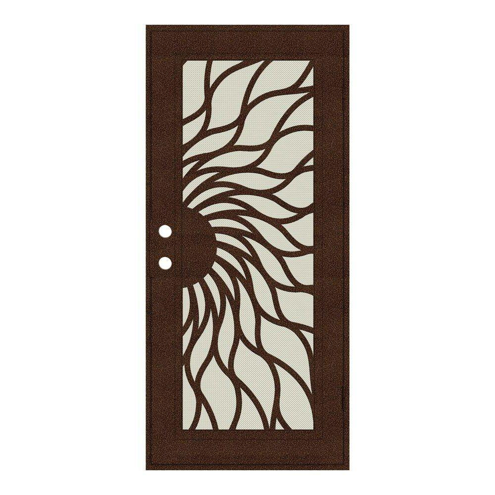 Unique Home Designs 30 in. x 80 in. Sunfire Copperclad Right-Hand Recess Mount Aluminum Security Door with Beige Perforated Screen