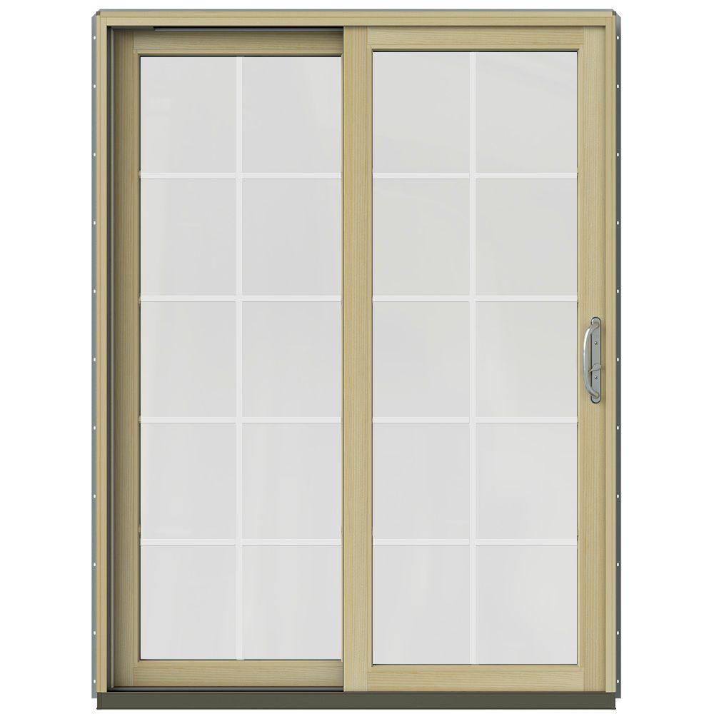 59-1/4 in. x 79-1/2 in. W-2500 Arctic Silver Prehung Left-Hand Clad-Wood Sliding Patio Door with 10-Lite Grids