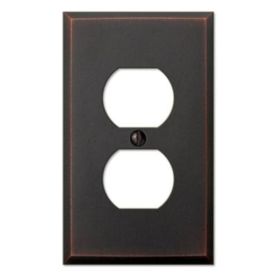 Manhattan 1 Gang Duplex Metal Wall Plate - Aged Bronze