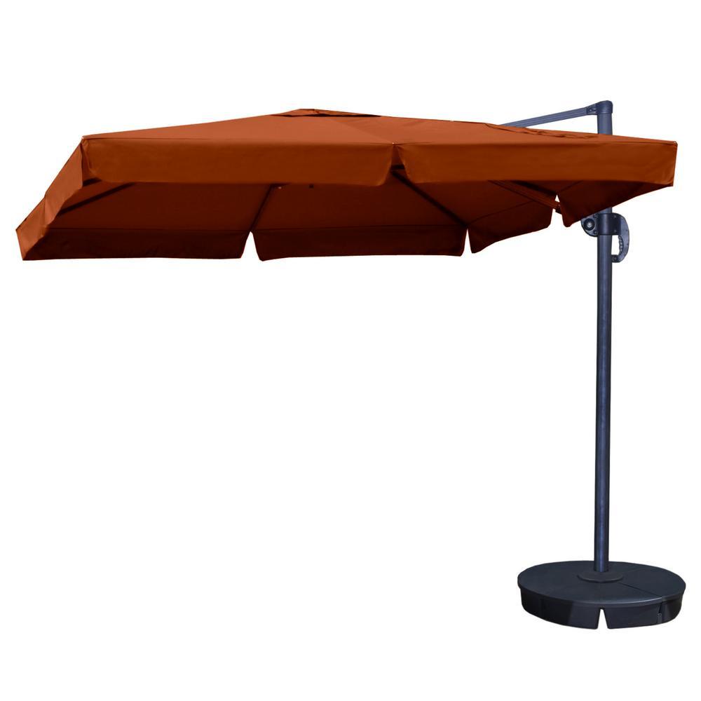 Santorini II 10 ft. Square Cantilever with Valance Patio Umbrella in Terra Cotta Sunbrella Acrylic
