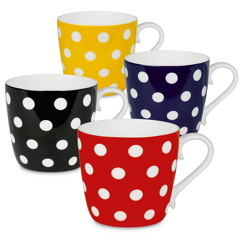Konitz 4-Piece Assorted Polka Dots Bone China Mug Set