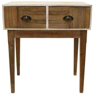 White Finished Accent Table with 2-Drawers