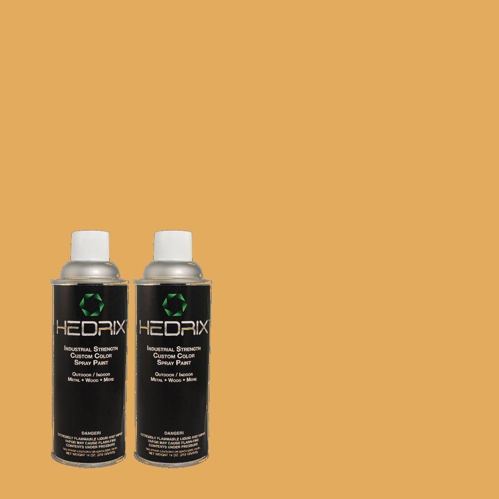 Hedrix 11 oz. Match of 2A13-5 Noble Gold Semi-Gloss Custom Spray Paint (2-Pack)