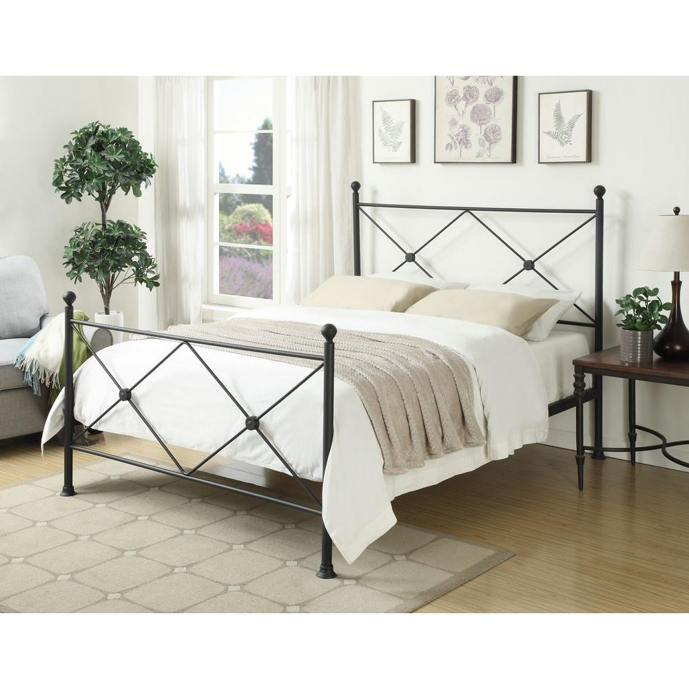 PRI All-in-1 Black Queen Bed Frame-DS-2643-290 - The Home Depot