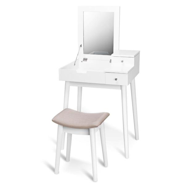 Costway 2-Piece White Living Room Set Vanity Dressing Table Set Flip Mirror Desk Furniture Stool With 2-Drawer-HW59212 - The Home Depot