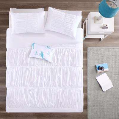 Tatiana 4-Piece White Full/Queen Solid Duvet Cover Set
