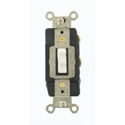 Leviton 15 Amp Industrial Grade Heavy Duty 3 Way Lighted Handle Toggle Switch White 1203 Lhw The Home Depot