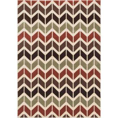 Shelton Lifestyle Collection Brown/Multi 3 ft. 10 in. x 5 ft. 7 in. Area Rug