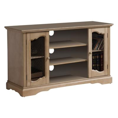 42 in. Antique White and Beige Composite TV Stand Fits TVs Up to 55 in. with Storage Doors