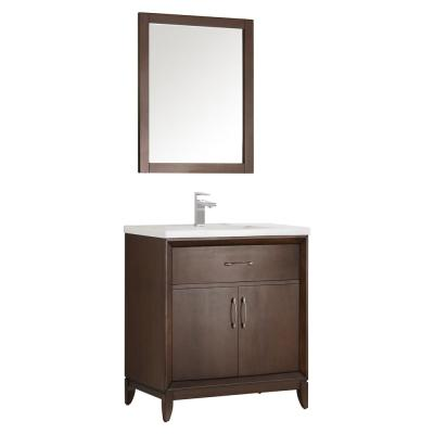 Cambridge 30 in. Vanity in Antique Coffee with Porcelain Vanity Top in White with White Ceramic Basin and Mirror