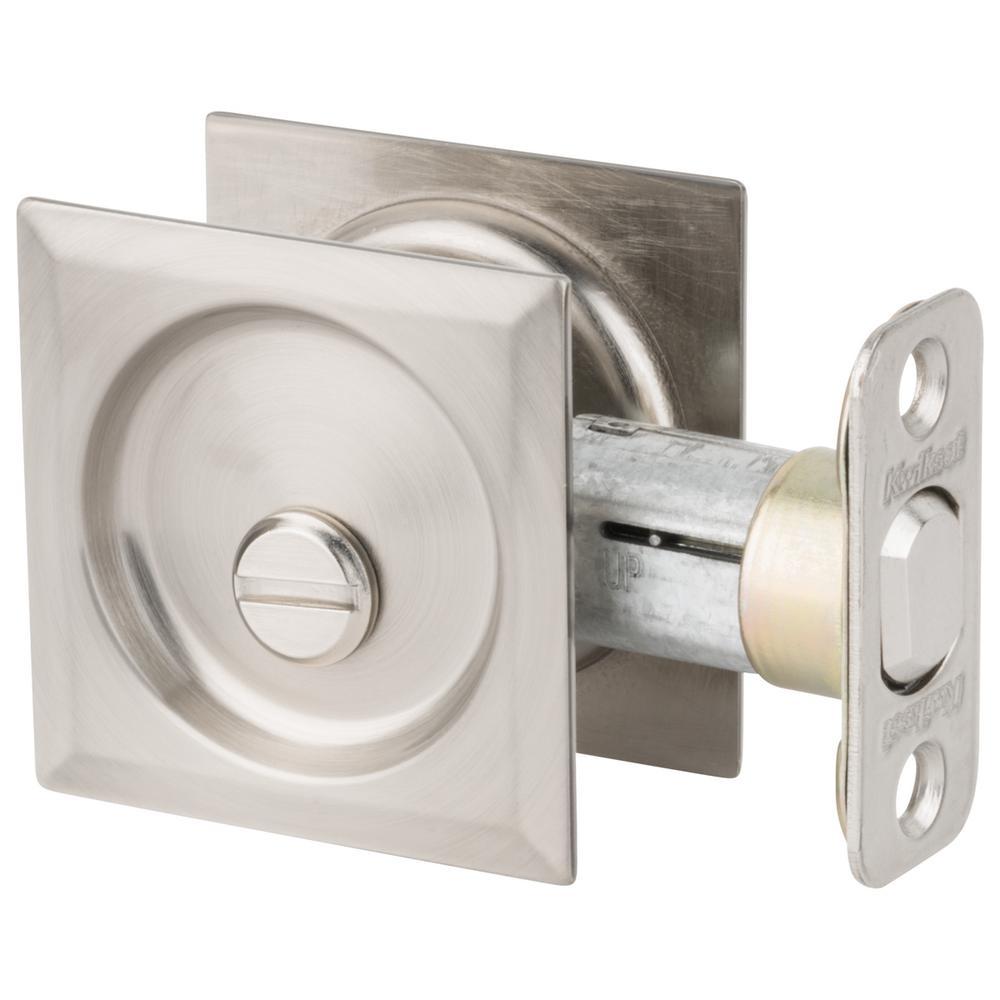 Satin Nickel Square Bed/Bath Pocket Door Lock