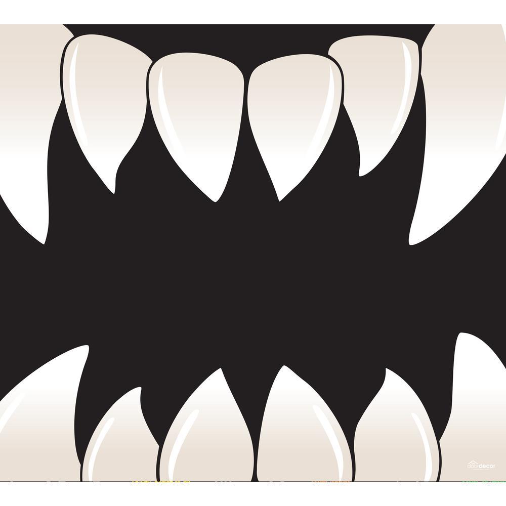 7 ft. x 8 ft. Scary Teeth Halloween Garage Door Decor Mural for Single Car Garage