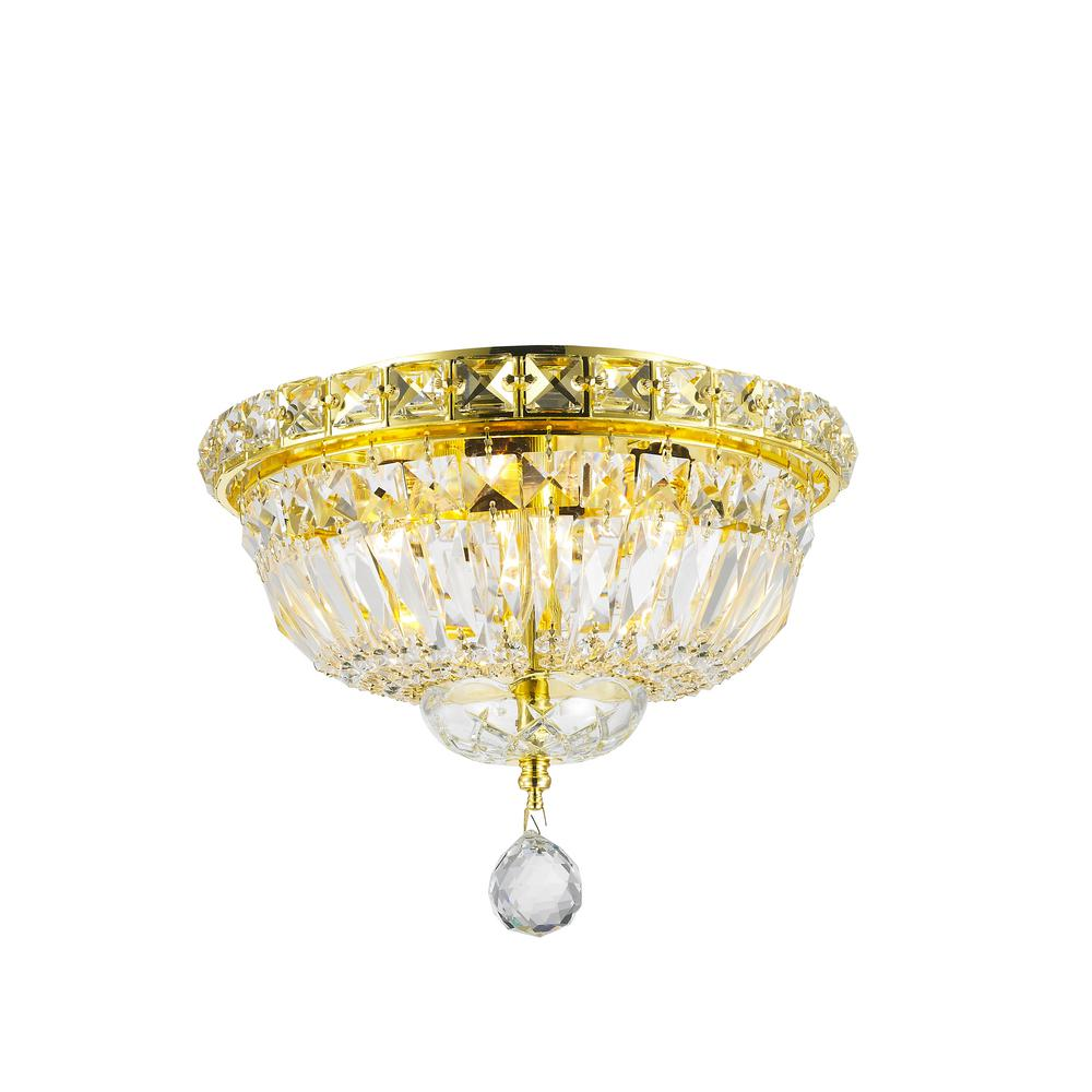 Worldwide lighting empire collection 4 light gold clear crystal ceiling light