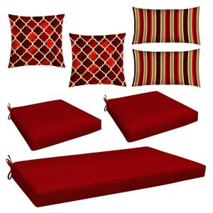 Honeycomb Red 7 Piece Outdoor Mix And Match Wicker Lounge Chair Cushion Set