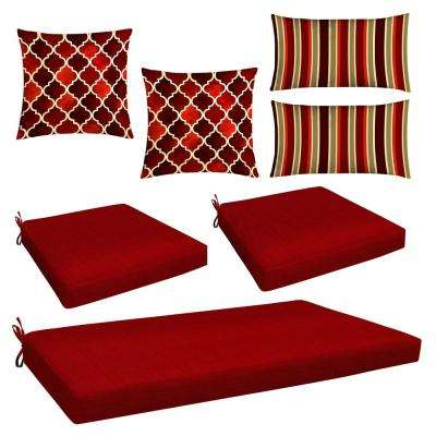 Red 7-Piece Outdoor Mix and Match Wicker Lounge Chair Cushion Set