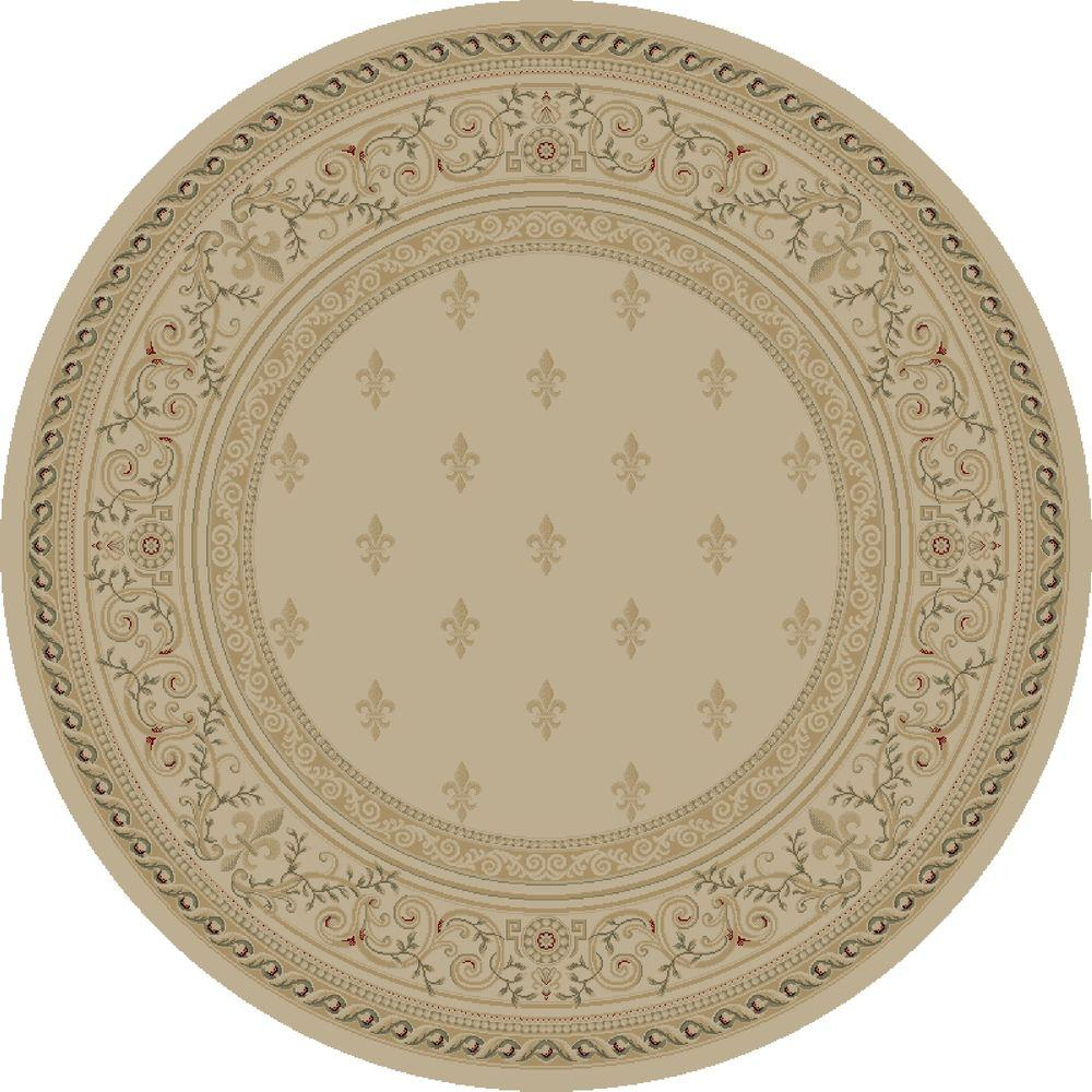 Imperial Fleur De Lys Ivory 5 ft. 3 in. Round Area
