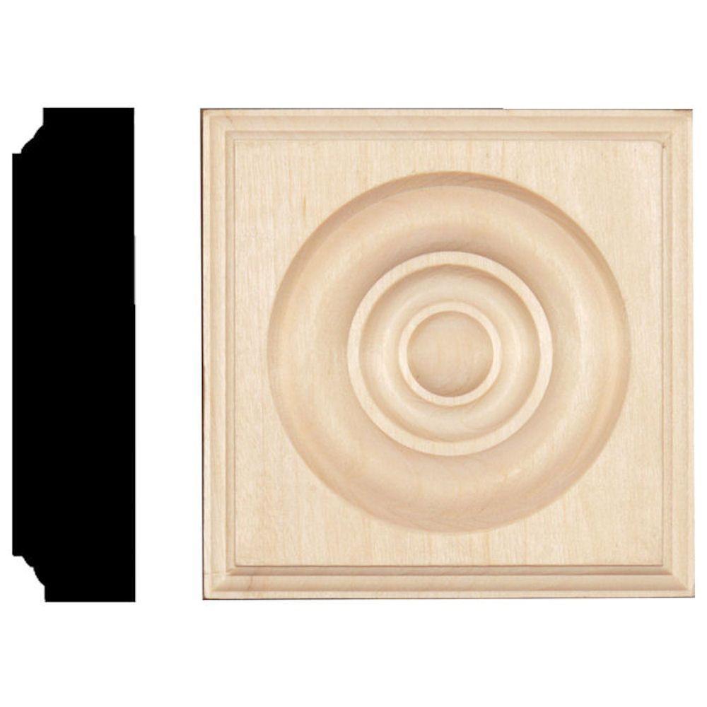 1-1/8 in. x 4-1/2 in. x 4-1/2 in. Hardwood Rosette Block Moulding
