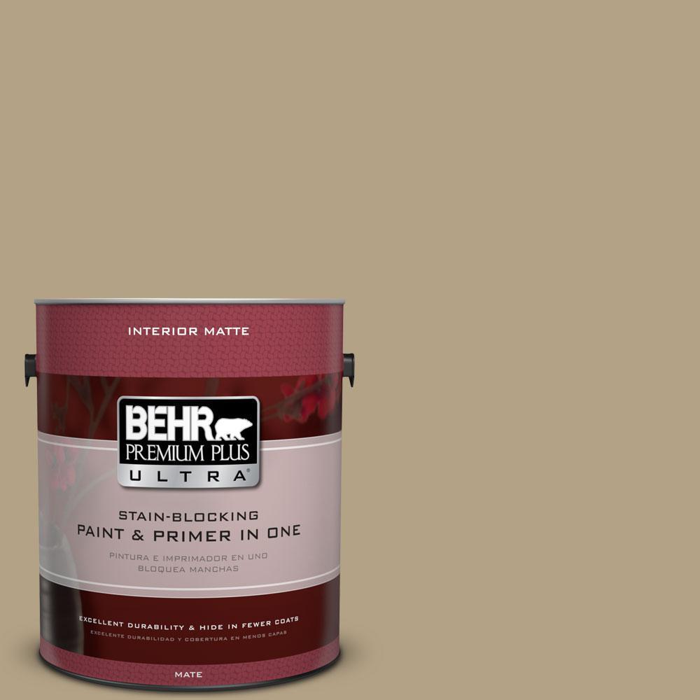 BEHR Premium Plus Ultra 1 gal. #PPU8-7 Chamois Tan Flat/Matte Interior Paint
