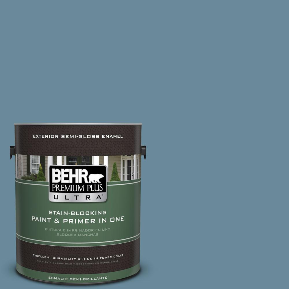 1-gal. #BIC-22 Relaxed Blue Semi-Gloss Enamel Exterior Paint