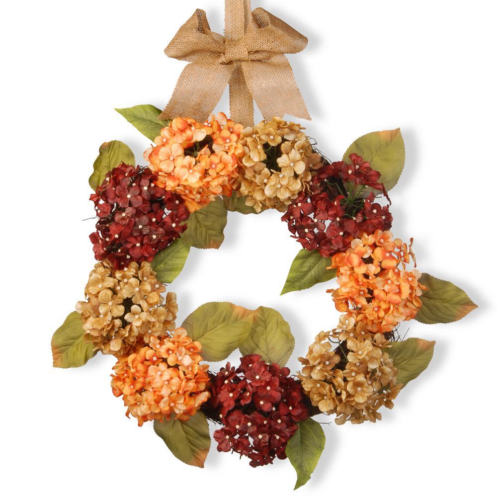 National Tree Company 24 in. Mixed Hydrangea Wreath RAS-W060614A