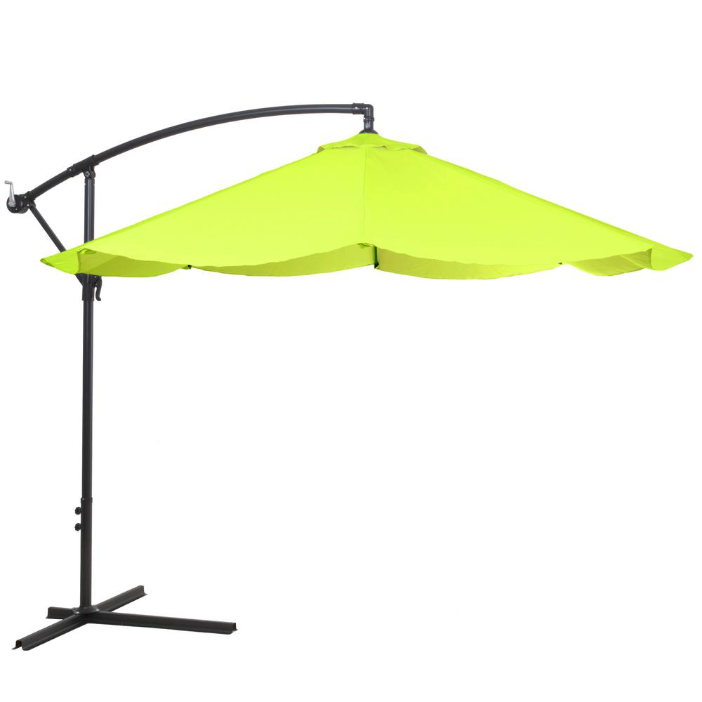 Superior Offset Aluminum Hanging Patio Umbrella In Lime Green