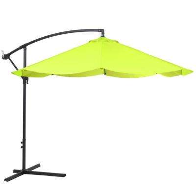 10 ft. Offset Aluminum Hanging Patio Umbrella in Lime Green