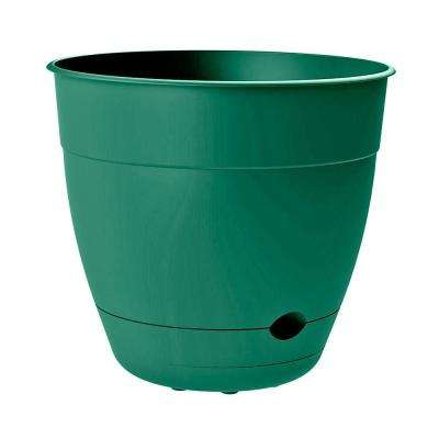 Dayton 12 in. Dia x 10.95 in. Tall Jungle Green Plastic Self-Watering Planter Pot