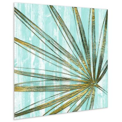"""Beach Frond in Gold"" Glass Wall Art Printed on Frameless Free Floating Tempered Glass Panel"
