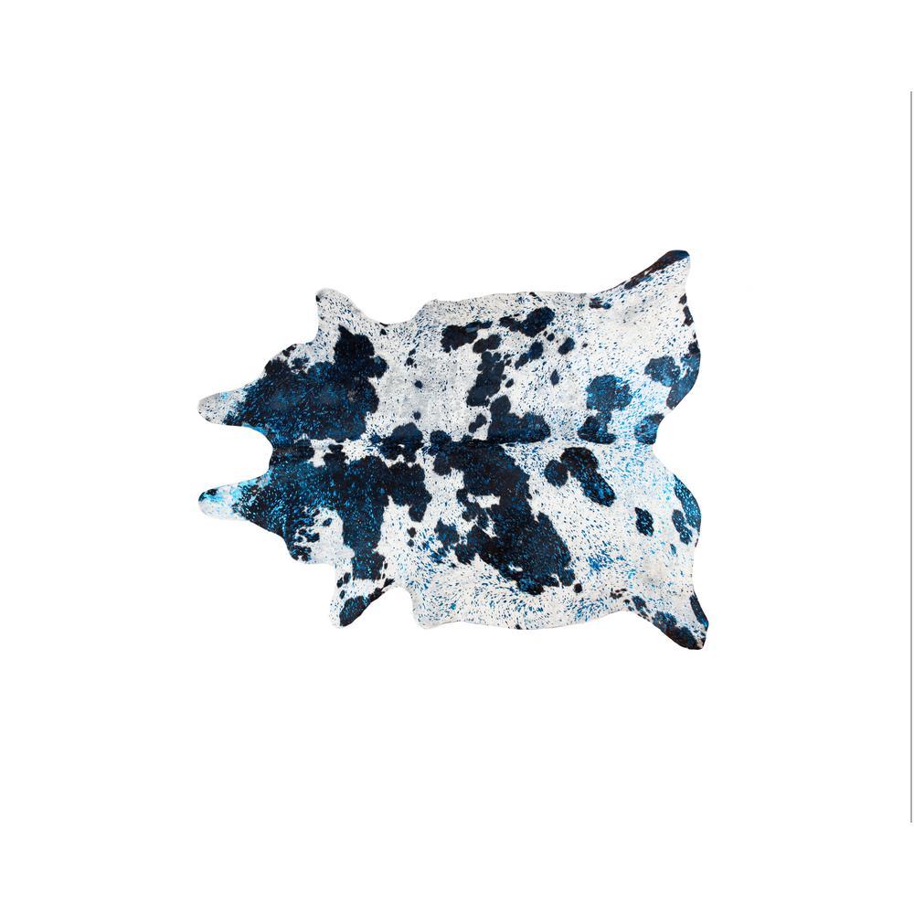 SCOTLAND COWHIDE 5 ft. x 7 ft. BLACK/WHITE/METALLIC BLUE