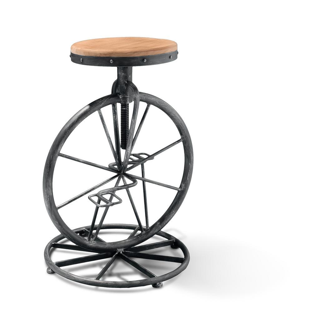 Michaelo 27.5 in. Wood Bicycle Wheel Adjustable Bar Stool