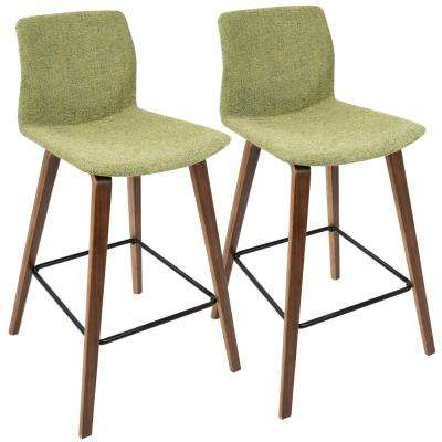 Cabo Mid-Century Modern Walnut and Green Fabric Counter Stool (Set of 2)