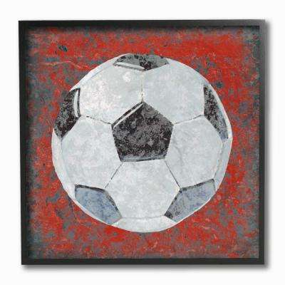 "12 in. x 12 in. ""Grunge Sports Equipment Soccer"" by Studio W Printed Framed Wall Art"