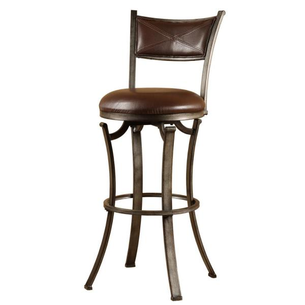 Hillsdale Furniture Drummond 26 In Rubbed Pewter And Brown Swivel Counter Stool 4919 826 The Home Depot