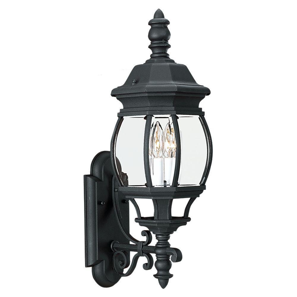 Sea Gull Lighting Wynfield 2 Light Black Outdoor 23 5 In Wall Lantern Sconce 88201 12 The Home Depot