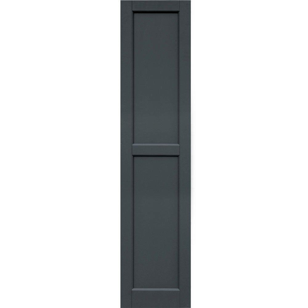 Winworks Wood Composite 15 in. x 66 in. Contemporary Flat Panel Shutters Pair #663 Roycraft Pewter