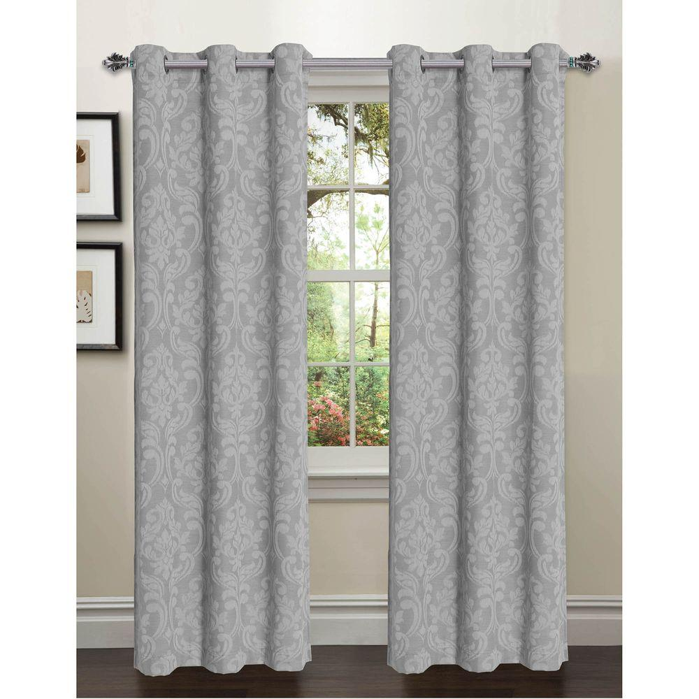 Window Elements Semi Opaque Elinor Linen Blend Jacquard 96 In L Grommet Curtain Panel Pair Gray Set Of 2