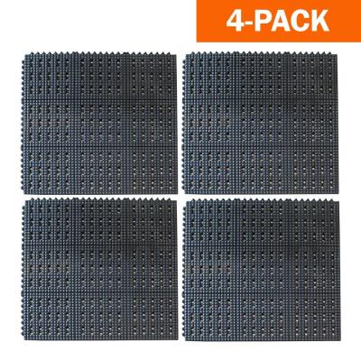 36 in. x 36 in. Industrial Rubber Anti-Fatigue Interlocking Mats (Set of 4)
