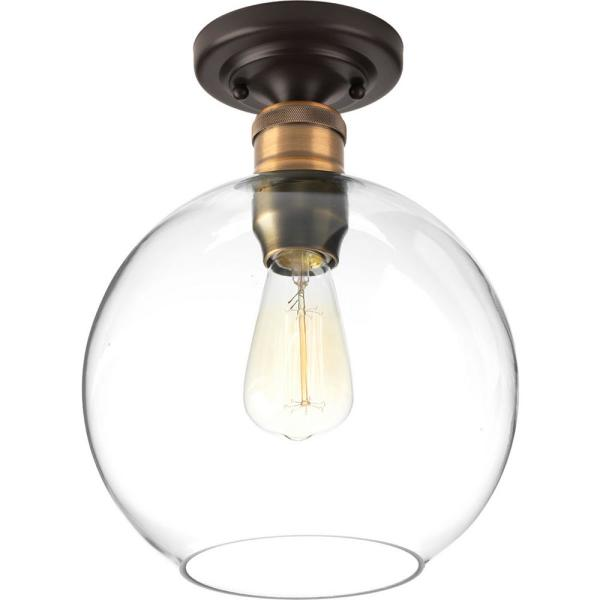 Hansford Collection 1-Light Antique Bronze Flush Mount with Clear Globe Shade