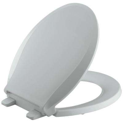 Cachet Quiet-Close Round Front Closed-Front Toilet Seat with Grip-Tight Bumpers in Ice Grey