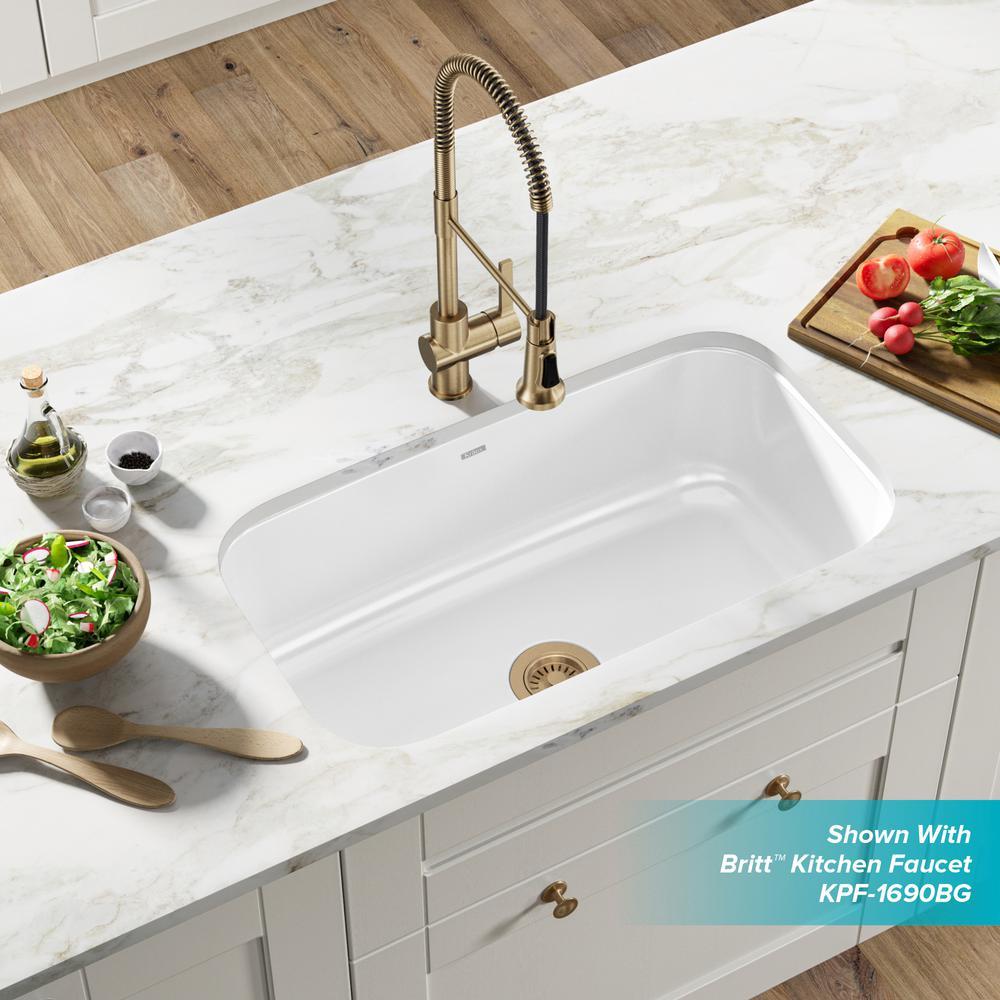 Kraus Pintura Undermount Enamel Steel 31 In Single Bowl Kitchen Sink In White Keu14white The Home Depot