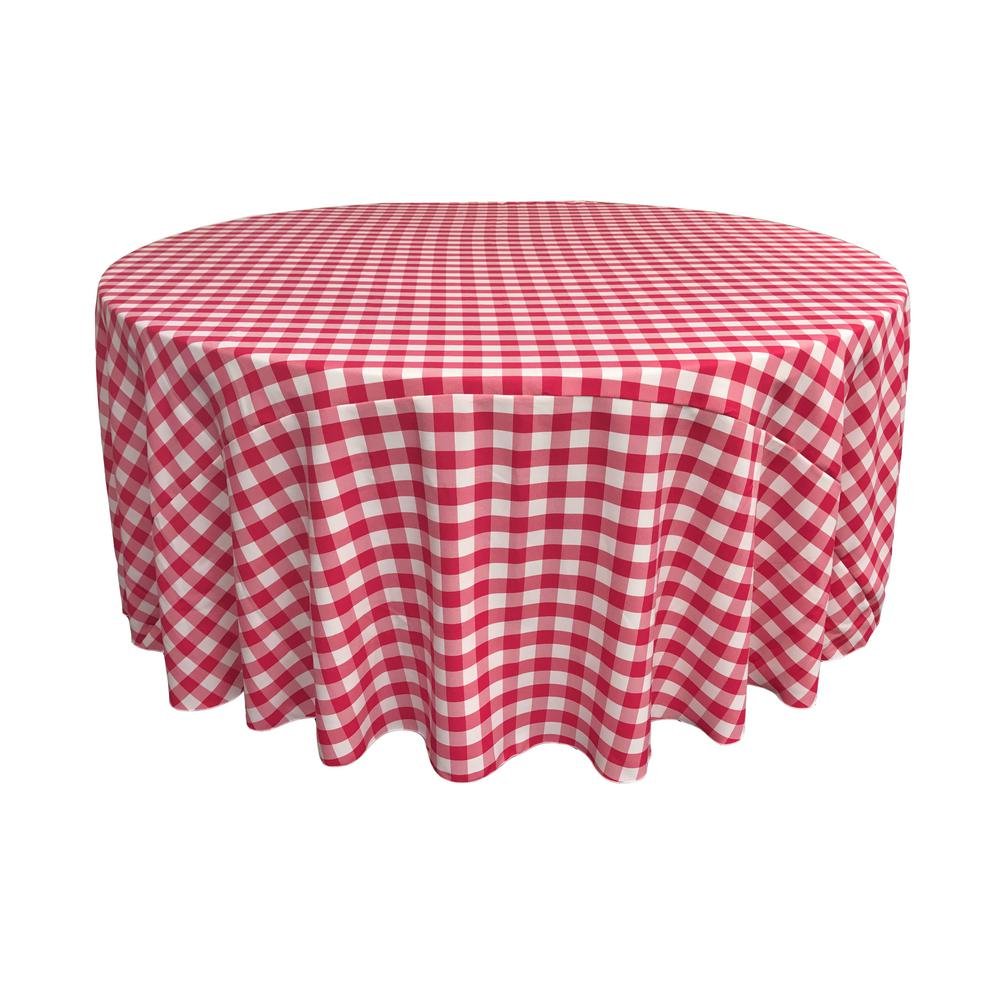 Beau White And Fuchsia Polyester Gingham Checkered Round Tablecloth