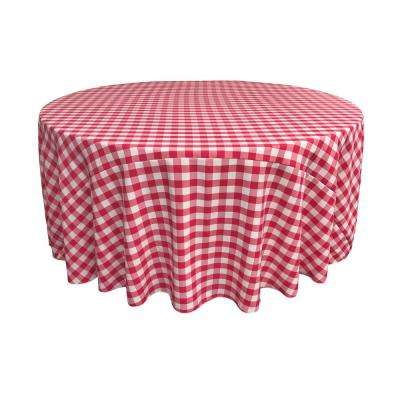 108 in. White and Fuchsia Polyester Gingham Checkered  Round Tablecloth