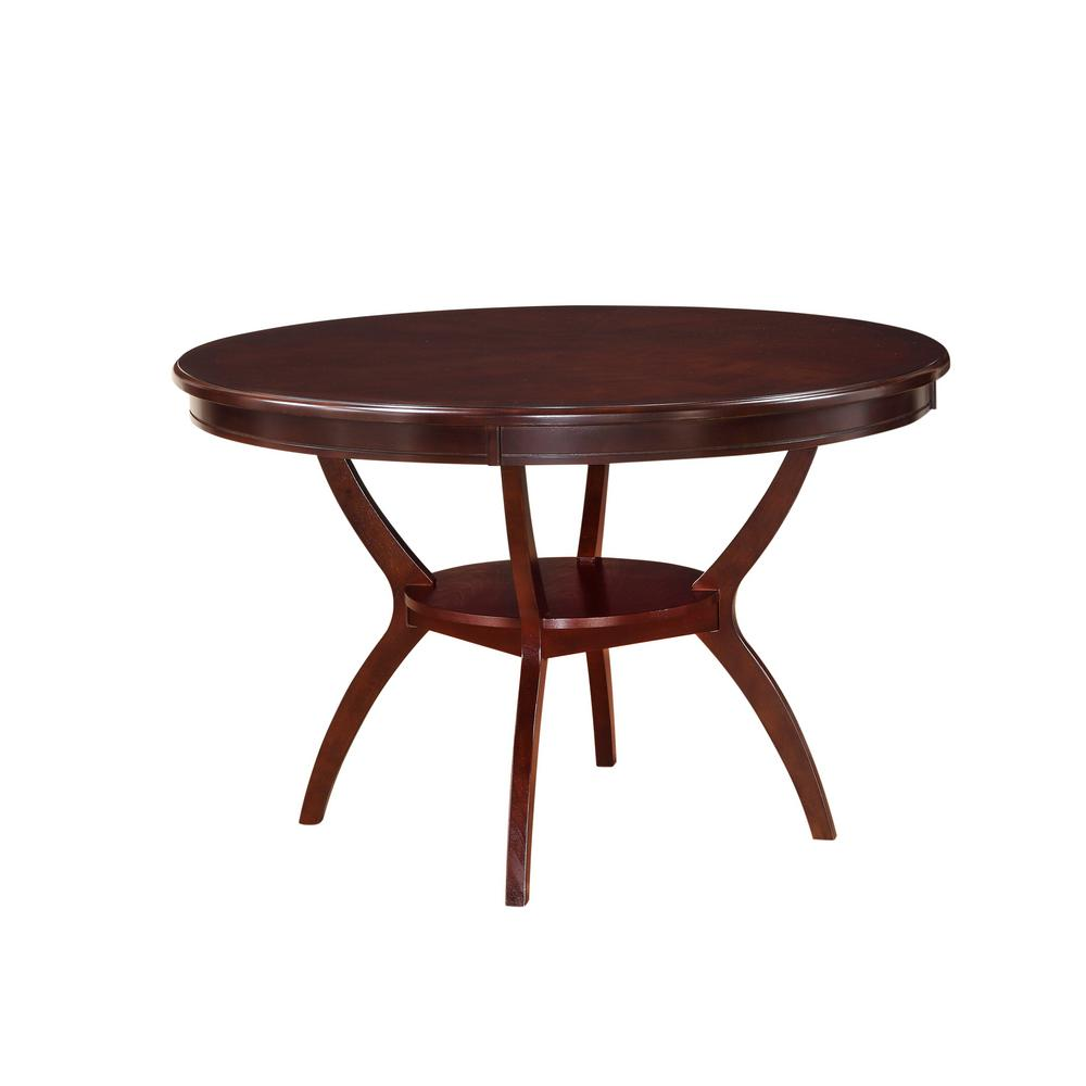 Acme oswell cherry built in storage dining table 71600 for Built in dining table